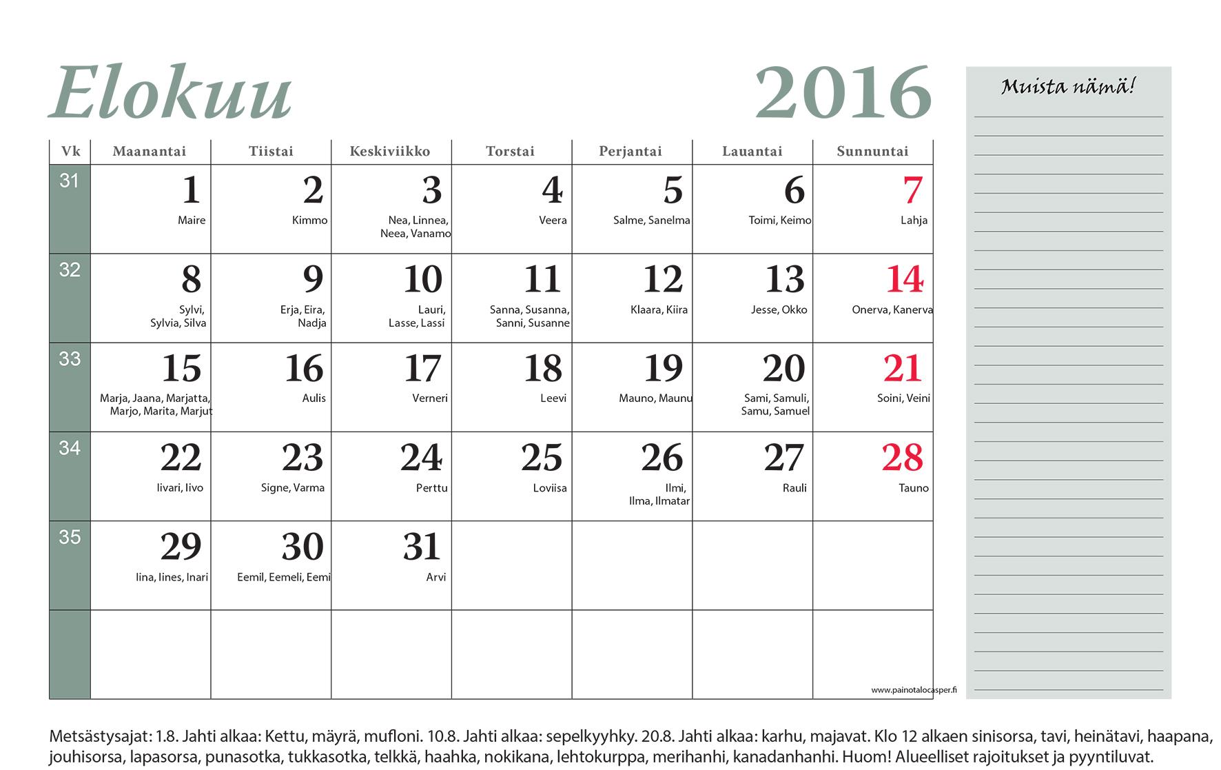 Kuukausi Kalenteri